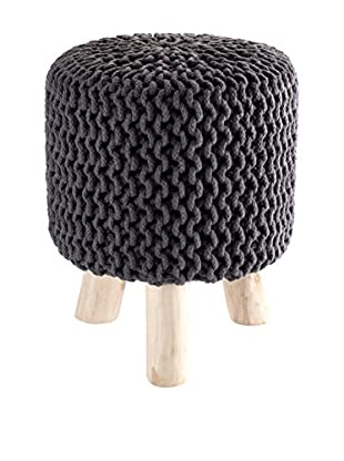 Contemporary Wood Pouf Knit