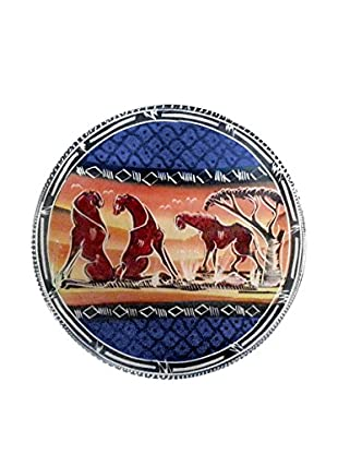 Asian Loft Handcrafted Lion Design Swaziland Stone Plate, Multi
