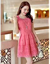 OnlyUrs New Fashion Organza Embroidery Lace Slim Fit Short Sleeve Dress|L|Yellow & Purple & White & Watermelon red
