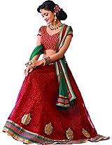 Melluha Women's Net Lehenga Choli(ml-0052_Brown_Free Size)