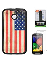 DMG Flexible Soft TPU Back Cover Case For Motorola Moto E XT1022 (US Flag) + 2600 mAh PowerBank + Matte Screen