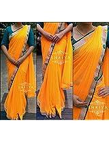 Shriya's Orange Georgette Saree With a Pearl Border Accompanied By Green & Orange Flowers.