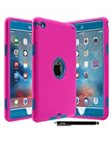 iPad Mini 4 Case - E LV Armor Defender Hybrid protection from drops and impacts with 1 Stylus and 1 Microfiber for iPad Mini 4 - [HOT PINK/TURQUOISE]