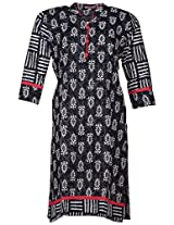 Bunkaari India Women's Cotton Regular Fit Kurti (00LK 40_46, Black and white, 46)