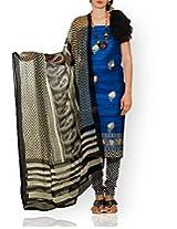 Unnati Silks Women Unstitched wedding blue-cream pure Tussar ghicha silk salwar Kameez
