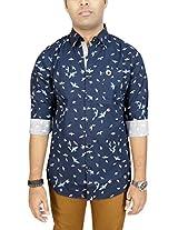 AA' Southbay Men's Navy 100% Cotton Printed Long Sleeve Casual Shirt