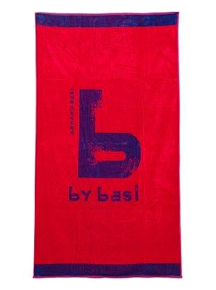 ByBasi Toalla de Playa Logo (Fucsia)