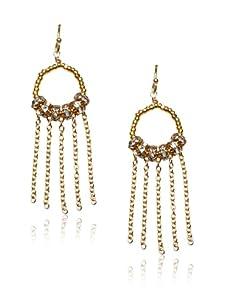 Diane Yang Gold Fringe Earrings