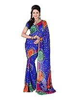 Jai Maa Ambey Creation Women's Georgette Saree (Blue)