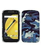 Heartly Army Style Retro Color Armor Hybrid Hard Bumper Back Case Cover For Motorola Moto E 2nd Generation XT1505 - Navy Blue