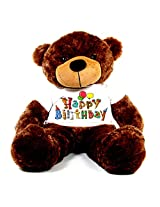5 Feet Big Brown Teddy Bear wearing a Happy Birthday Party T-shirt