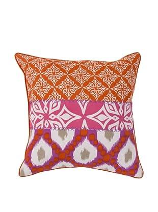 Surya Patterned Throw Pillow, Mandarin Red