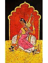 Exotic India Saqi - Batik Painting On Cotton