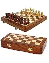 ITOS365 Folding Chess Board Set Wooden Game Handmade, Classic Game of Brilliance, Chess Pieces, 16 X 16 Inches