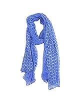 FUGEN Women's Wool Scarf (FF-2046, Blue)