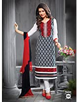 Fabfirki Black and White Unstitched Cotton Salwar Suit