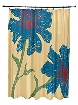 e by design Hibiscus Shower Curtain, Gold/Blue/Red