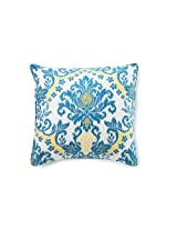 Jiti Indoors Ikat Throw Pillow, Linen/Rayon, 26-Inch Square, Blue