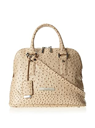 Ivanka Trump Women's Ava Faux Ostrich Dome Satchel Top Handle Bag (Beige)