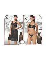 Indiatrendzs Women's Sexy Hot Nighty Black 3pc Set Bedroom Sleepwear Freesize