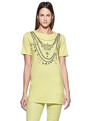 Crema Camiseta Print Collares (Verde)