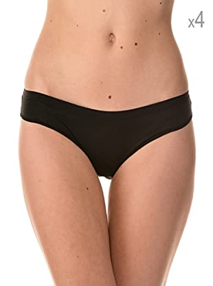Anyma by Cotonella Pack 4 Braguitas Bikinis Cintura Baja (Negro)