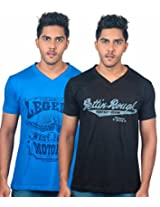 UK Tribes Men's Black-Blue Pack Of 2 V-Neck T Shirts Small
