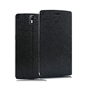 Pudini® Yusi Rain Series Leather Flip Cover Stand Case for OnePlus One - Black