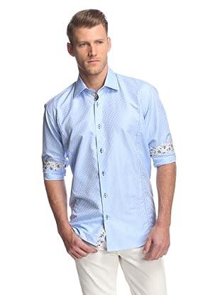 Cafe Bleu Men's Sirp Pindot Jacquard Sportshirt (LT. Blue)