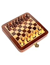 "Stonkraft 7"" X 7″ Collectible Wooden Folding Chess Game Board Set+Wooden Magnetic Crafted Pieces (Delivery ≪ 7 Days)"