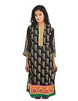 Fashiana Women's Cotton Straight Long Kurti (FKRT023 , Black , L)