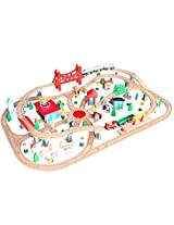 Aladdin 130 Pcs Thomas the Train Wooden Railway Track Wooden Toys for Boys