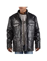 Yas Fashions Men's Regular Fit Leather Winter Jacket ( Y11-XXXXX Large_Black_XXXXX-Large )