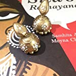 Gold ethnic small jhumkas with white dots