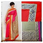 Mandira Bedi Pink & Golden Bollywood Replica Saree