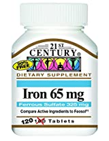 21st Century Iron 65 Mg Ferrous Sulfate 325 Mg Tablets, 100 Count