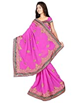Chinco Embroidered Saree With Blouse Piece (1201-C_Pink)