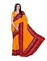 Rajasthani Bandhani Bandhej Orange Color Moss Chunri Sari