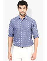 Blue Printed Slim Fit Casual Shirt Peter England