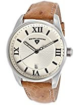 Bellezza Tan Genuine Ostrich Leather Beige Textured Dial (22012-02S-Os12C)