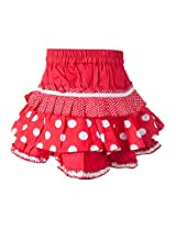 Knee Length Printed Red Skirts