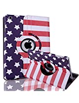 HDE iPad Mini Tablet Case Rotating Flip Stand Folding Folio Magnetic Cover Designer for Apple Mini 2/3 Retina (Stars & Stripes)