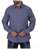 London Fog Men's Casual Shirt (8907174040455_Blue_Large)