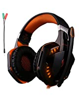 Kotion Each G2000 Gaming Headset Earphone 3.5mm Jack With Led Backlit And Mic Stereo Bass Noise Cancelling For Computer Game Player By Senhai(Black + Orange)