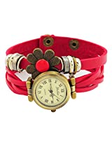 Geneva Designer Flower Collection PU Strap Analog Red color Womens Watch