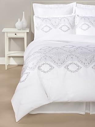 Mélange Home Brocade Duvet Cover Set (White/Grey)