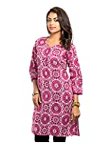 Almas Women's Cotton Regular Fit Kurti (ALM-KUR-100089_S, Maroon, Small)