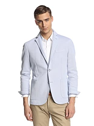 Lubiam Men's Unconstructed Two Button Patch Pocket Sport Coat (Light Blue)