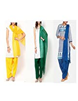 Ashmita cotton set of Patiyall & Dupattas-Blue,Green ,Yellow-FS