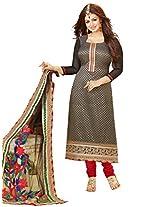 Inddus Women Black & Red Self Designed Unstitched Dress Material
